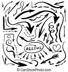 セット, の, 手, 水彩画, 引かれる, 矢, 隔離された, 上に, white., ベクトル