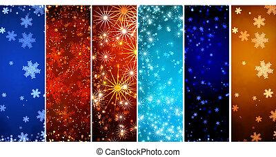 セット, の, 旗, ∥で∥, クリスマス, 背景, ∥で∥, 雪片