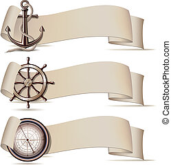 セット, の, 旗, ∥で∥, 海洋, icons.