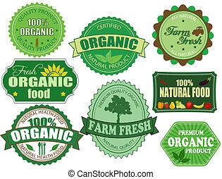 セット, の, 有機体である, そして, 新たに農場で働きなさい, 食物, バッジ, そして, ラベル