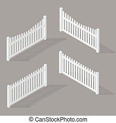 セット, の, 木製のフェンス