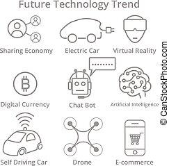 セット, の, 未来, 技術, 傾向, 優れた, 品質, アウトライン, シンボル, collection.