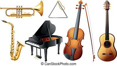 セット, の, 楽器