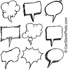 セット, の, 泡, スピーチ, いたずら書き