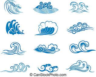 セット, の, 波, シンボル
