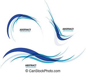 セット, の, 流れること, 青い波, ライン