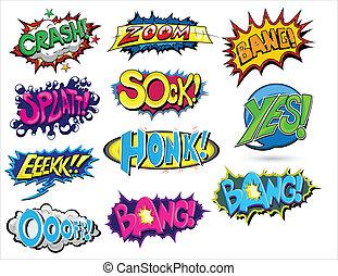 セット, の, 漫画, 表現, ベクトル