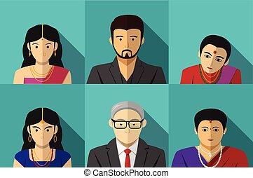 セット, の, 現代, indian, 人々が中にいる, ベクトル, portait