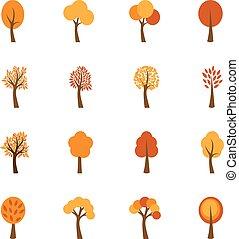 セット, の, 秋の木, ベクトル, イラスト