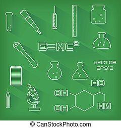 セット, の, 科学, アイコン