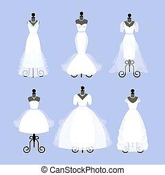 セット, の, 結婚式, dresses., ファッション, ガウン, 上に, mannequins., 白は 服を着る, 中に, 別, styles., vector.