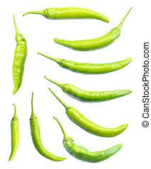 セット, の, 緑の唐辛子, コショウ, 白, 背景