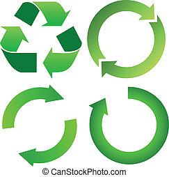 セット, の, 緑, リサイクル矢
