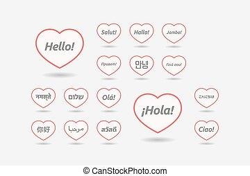 セット, の, 線画, 心, ∥で∥, ∥, 単語, こんにちは, 中に, 別, 言語