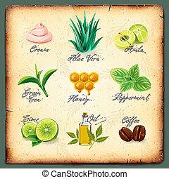 セット, の, 自然, 化粧品, 原料