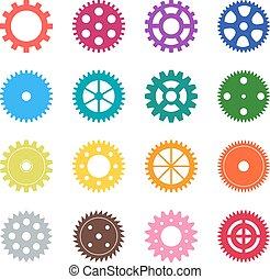セット, の, 色, ギヤは 動く, ベクトル, イラスト