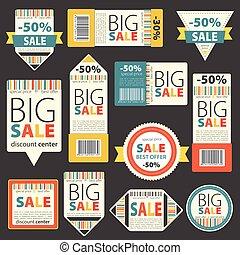 セット, の, 色, セール, 型, signs/labels
