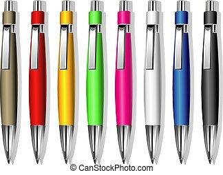 セット, の, 色, ベクトル, 記念品, ペン