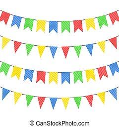 セット, の, 色, 掛かること, flags., ベクトル, イラスト