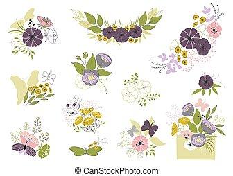 セット, の, 花の要素