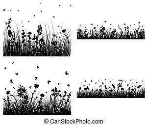 セット, の, 草, シルエット