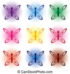 セット, の, 蝶