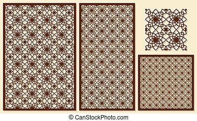セット, の, 装飾用である, パネル, レーザー, cutting., テンプレート, 幾何学的, pattern., ∥, 比率, の, 2:, 3, 1:, 2, 1:, 1, seamless., ベクトル, illustration.
