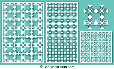 セット, の, 装飾用である, パネル, レーザー, cutting., 優雅である, 幾何学的, pattern., ∥, 比率, の, 2:, 3, 1:, 2, 1:, 1, seamless., ベクトル, illustration.