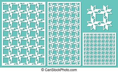 セット, の, 装飾用である, パネル, レーザー, cutting., 普遍的, 幾何学的, pattern., ∥, 比率, の, 2:, 3, 1:, 2, 1:, 1, seamless., ベクトル, illustration.