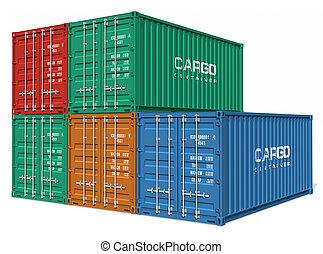 セット, の, 貨物 容器