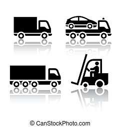 セット, の, 輸送, アイコン, -, トラック