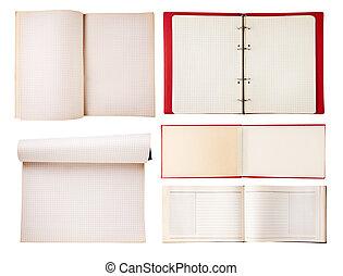 セット, の, 開いた, ノート, 隔離された, 白, 背景