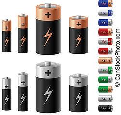 セット, の, 電池