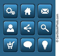 セット, の, 青, ベクトル, 網, 広場, ボタン