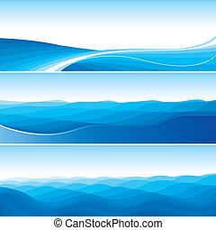 セット, の, 青, 抽象的, 波, 背景