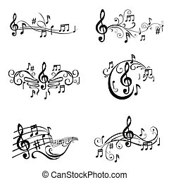セット, の, 音楽的な ノート, イラスト, -, 中に, ベクトル