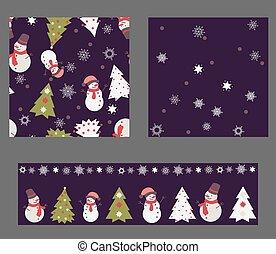セット, の, 3, seamless, パターン, 中に, クリスマス, 色, デザイン