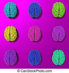 セット, の, 3d, 定型, 低い, poly, 脳, イラスト