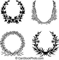 セット, の, 4, 黒い、そして白い, 月桂樹, wreath.