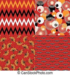 セット, の, 4, seamless, アフリカ, パターン