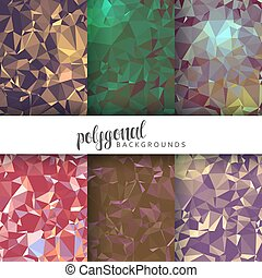 セット, の, 6, 抽象的, polygonal, backgrounds., ∥, 傾向, 抽象概念