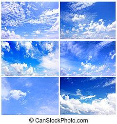 セット, の, 6, 青い空, 日光, コレクション