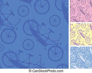 セット, の, frour, タンデム自転車, seamless, パターン, backgprunds