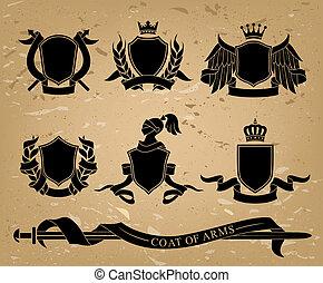 セット, の, heraldic, 黒, 紋章