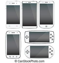 セット, の, smartphone, concepts.