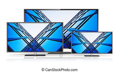 セット, の, widescreen tv, ディスプレイ