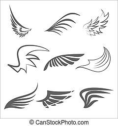 セット, の, wings.