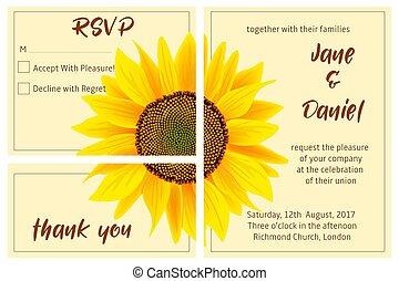 セット, ひまわり, カード, 招待, 背景, 結婚式