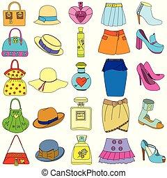 セット, びん, 靴, ハンドバッグ, スカート, 背景, 白, 香水, 帽子
