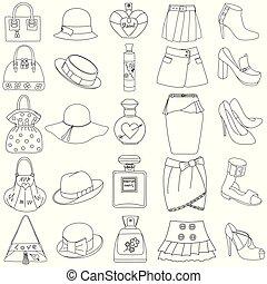 セット, びん, 靴, 概説された, ハンドバッグ, スカート, 背景, 白, 香水, 帽子